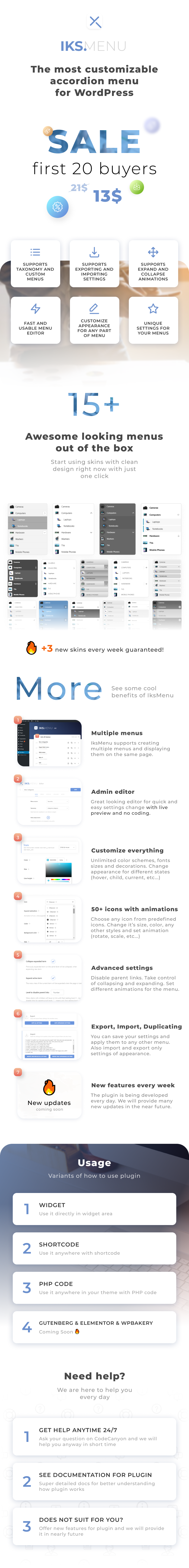 Iks Menu - Super Customizable Accordion Menu for WordPress - 1